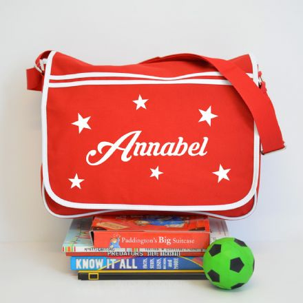 Personalised Star Red Retro Messenger Bag